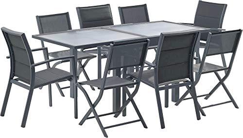 Wilsa Salon de Jardin MODULO 8-1 Table + 4 fauteuils + 4 chaises - Gris