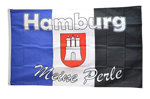 Flaggenfritze® Flagge/Fahne Fanflagge Hamburg Meine Perle 4-90 x 150 cm
