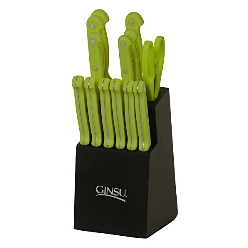 Ginsu Essential Series 14-Piece Stainless Steel Serrated Knife Set – Cutlery Set with Lime Green Kitchen Knives in a Black Block, 03886LGDS