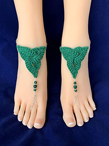 Celtic Knot Beaded Barefoot Sandals. Green Crochet Foot Jewelry. Beach Wedding Bridal Accessory. Beach Party. Set of 2 pcs.
