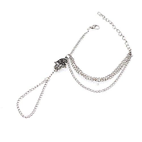 Amuleto de Hamsa Mano Pulsera de Cadena de Fatima Esclavo Plata Arnés Anillo de Dedo