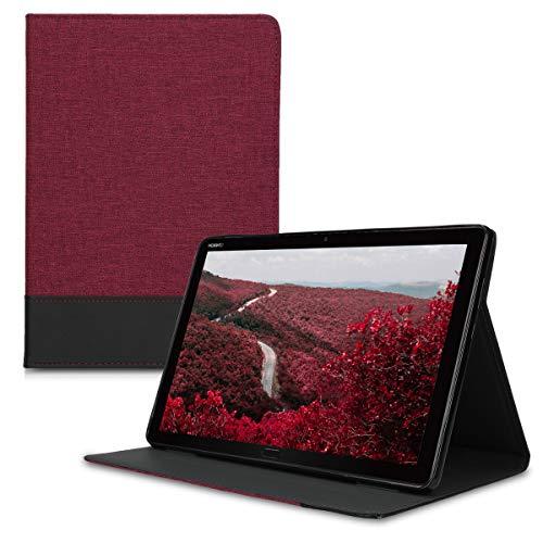 kwmobile Hülle kompatibel mit Huawei MediaPad M5 Lite 10 - Slim Tablet Cover Hülle Schutzhülle mit Ständer Dunkelrot Schwarz