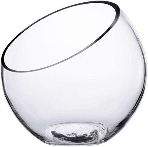 Knik Glass Tazón de Burbujas de Corte Inclinado, Pecera Jarrón de Cristal Terrario, Diseño de Globo Redondo de Cristal con Burbujas de Corte Ancho, Poner Caramelos Plantas Flores Frutas(7'x7')