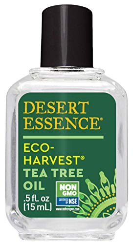 Desert Essence Eco-Harvest Tea Tree Oil - .5 Fl Oz - Therapeutic Pedicure - Helps Eliminate Dead Skin Cells - For Glowing, Softer Skin - Hair Care - Household Cleansing - Antiseptic - Skin Care -  3119NDE