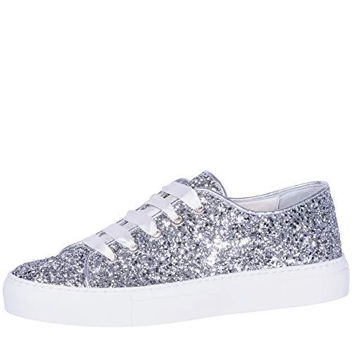 Fiarucci Brautschuhe Suzan - Damen Sneaker gepolstert, Glitzer, Silber, Satin Gr. 42 (9 UK)