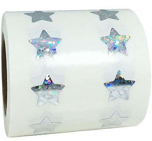 Adesivos em forma de estrela brilhante holográfica prateada Suprimentos para professores 0,50 polegada 1.000 Etiquetas adesivas
