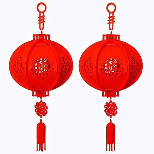 SODIAL Paquete de 2 Farolillos Chinos para Festivales y Celebraciones, Feliz A?O Nuevo Chino Afortunado Farolillo Rojo Fu 3D Rompecabezas
