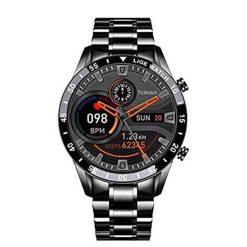 WWKDM1 Reloj Inteligente con cinturón de Malla para Hombre Recordatorio de información sobre el sueño Deportivo de Moda, Adecuado para Relojes Impermeables Android e iOS