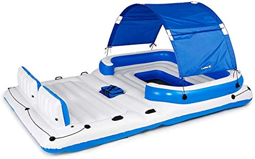 Bestway CoolerZ Tropical Breeze Floating Island Raft | Giant Inflatable Pool Float For Adults | Includes Canopy, Cupholders, & Cooler Bag | Lounge Fitsup to 6 People | Great For Pool, Lake, River, OC