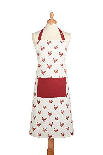 Kitchen Craft French Henne verstellbar 100% Bedruckte Kochschürze, Baumwolle, Cremefarben/Rot, 69x 1x 89cm