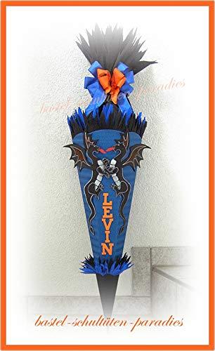 Schultüten Bastelset Drachen blau-schwarz