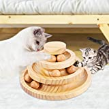 Cat Supplies Funny Roller Cat Toy-Three Layer Wooden Track Balls Turntable for Kitty Cat Gifts for Your Cats