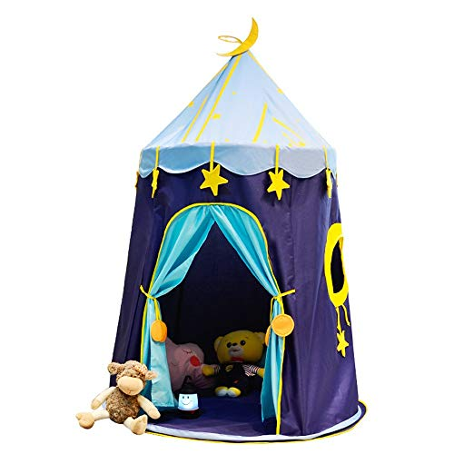 Nvshiyk Kids Teepee Play Blue Interior Starry Sky Baby toy Tent Room Decoration Foldable Game Tent Tent Camping Tent Indoor and Outdoor Children's Toys (Color : Blue, Size : As shown)