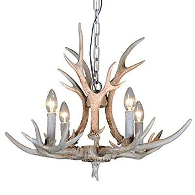 Resin Antler Chandelier,6 Light Deer Antler Channdelier Vintage Style for Living Room Dining Room Cafe Kitchen Bar Entry etc American Countryside Deer Horn Ceiling Lights
