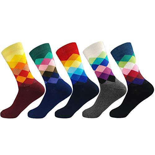 AEPEDC 5 Pares de Calcetines de Vestir Divertidos para Hombres, Coloridos Calcetines Funky para Hombres, Calcetines de Oficina de Algodón Peinado Estampados Divertidos de Fantasía N