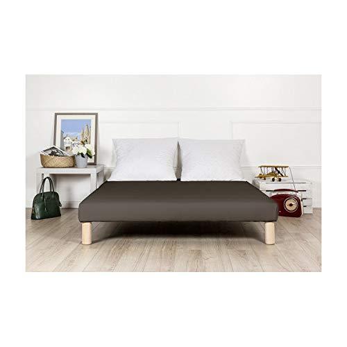 By sommiflex Sommier tapissier 90x200cm Marron Fabrique en France Pieds