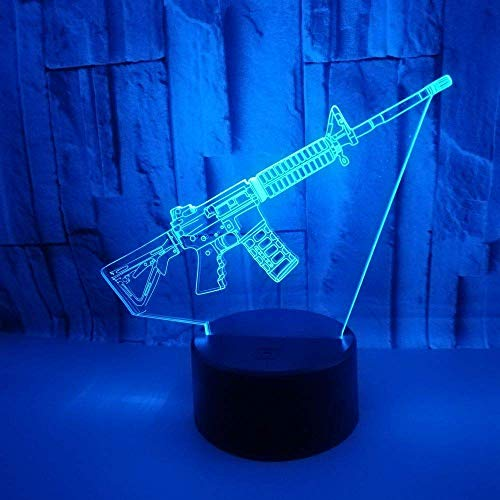 Acrylic Infantry Gun Model LED 3D Illusion Night Light USB Touch Sensor RGB Child Kids Gift Desk Table Lamp 7 Color Changing