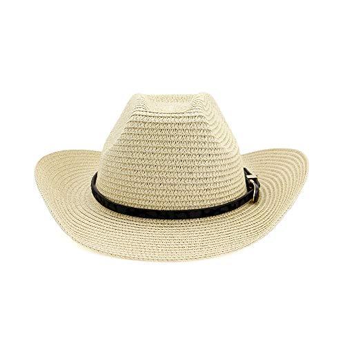 GAOERJI 2019 Cowboy Husk Hoed voor dames, tophoed, westerns, straw, strandhoed, outdoor, seaside, zwart, leren riem, modieus, boogdecoratie, zonneklep