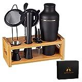 LEMONSODA 8-teiliges Cocktail-Shaker Set mit Ständer – komplettes Mixologie-Barkeeper-Set für Hausbar – Getränkemixer Bargeschirr mit Martini-Shaker, Sieb, Messbecher, Weinausgießer, Holzständer