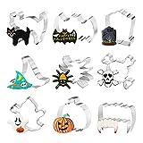 Bluelves Formine Biscotti Halloween, Set di 9 Stampi Biscotti Halloween, Tagliabiscotti Halloween, Formine per Biscotti per Festa Halloween, Pipistrello, Ragno, Fantasma, Cappello da Strega