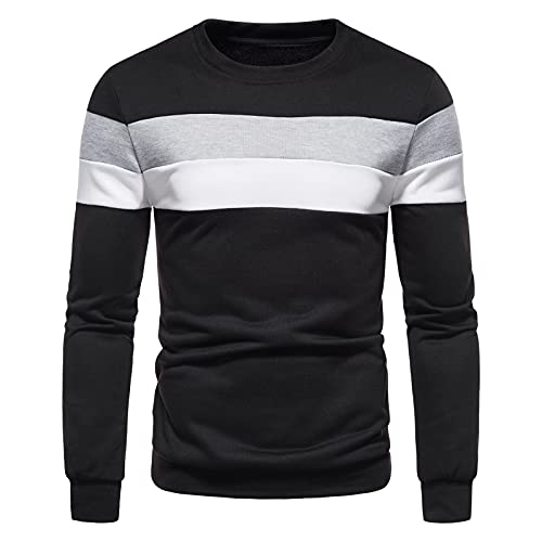 Men's Slim Patchwork Sweatershirts Casual Long Sleeve Tops Crew Neck Drawstring Novelty Hoodies Blouse Fashion Sweaters