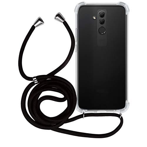 MyGadget Funda con Cuerda para Huawei Mate 20 Lite - Carcasa Transparente en Silicona TPU Suave con Cordón - Case y Correa Colgante Ajustable - Negro