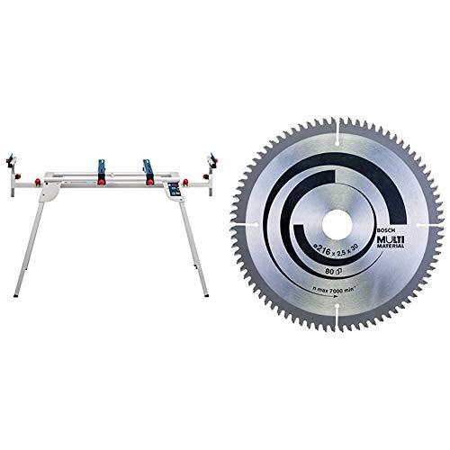 Bosch Professional Pied pour scie à onglet support GTA 2600 (Longueur: 520 mm, poids: 6,3 kg, hauteur : 602mm) & 2608640447 Lame de scie circulaire Multi Material 216 x 30 x 2,5 mm, 80, 1 pièce