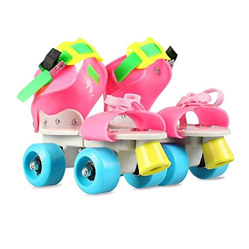 LWPCP Inline-Rollschuhe verstellbare Zweireihige Schlittschuhe Kinder 4 Rad Anfänger Kinder Jungen Mädchen Innen- und Außenrollschuhe Kleinkinder Geburtstagsgeschenk (26-36),4