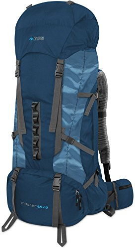 Crossroad Wanderrucksack Trekkingrucksack Outdoor Rucksack Master 65 + 10 Liter blau mit Regenhülle
