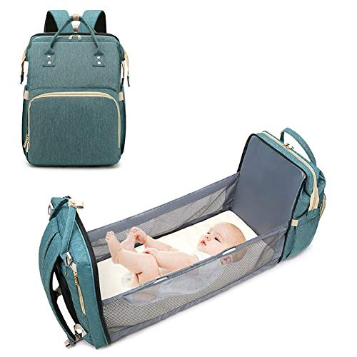 WAQIA 3 in 1 Travel Bassinet Baby Foldable Diaper Changing Station Portable Crib Baby Nappy Changing Bag for Newborn Baby Toddler, Travel Crib Infant Sleeper, Baby Nest with Mattress (Green)