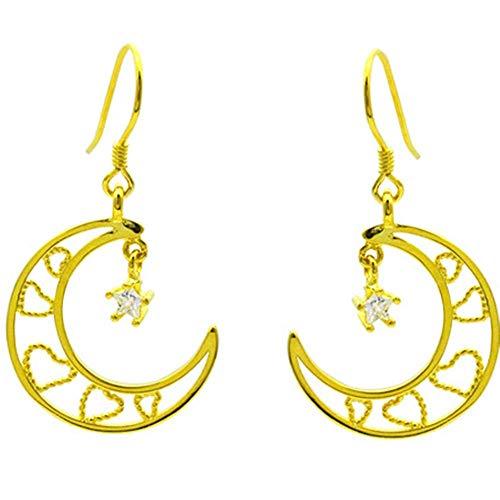 Onefeart Plata de ley 925 Pendientes de gota Para mujeres niñas Redondo Zirconia cúbica Hermosa Niña Estrella Mes Diseño 24MM Oro