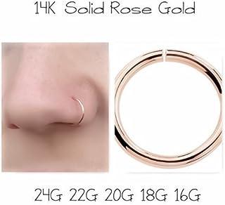 14K Rose Gold Seamless Nose Ring Cartilage Hoop Earring 24G 22G 20G 18G 16G Daith Helix Conch Tragus Orbital Rook Snug Auricle Pinna Industrial Scaffolding