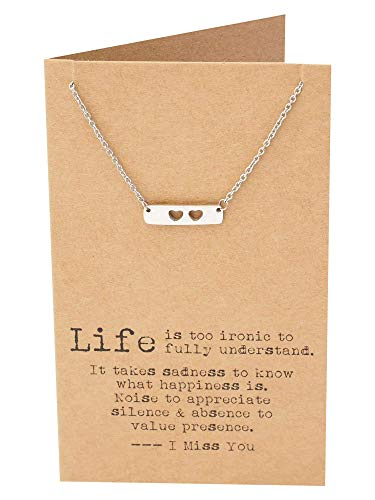 Quan Jewelry Best Friend Necklaces, Heart Bar Pendant Necklace with Inspirational Quote Cards