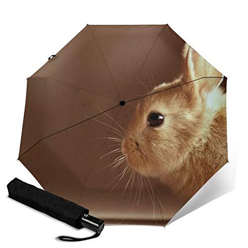 Rabbit,Waterproof Automatic Folding Umbrella Manual Tri-Fold Umbrella Portable Compact Umbrella for Daily