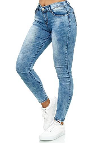 Elara Damen Stretch Hose Push Up Jeans Gummizug Chunkyrayan YF9518 Blue-40 (L)