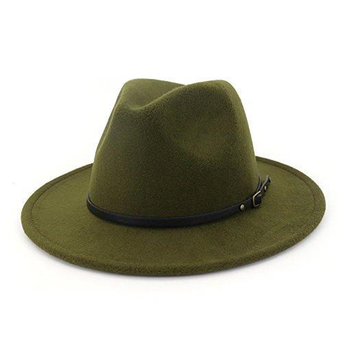 Lisianthus Women Belt Buckle Fedora Hat Olive-Green