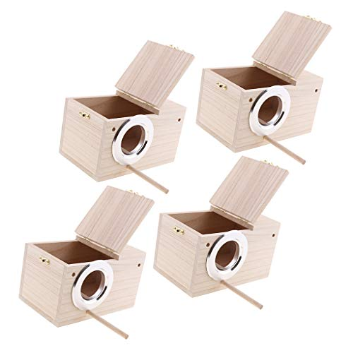 PETSOLA 4 Stücke Sittich Nistkasten Wellensittich Nisthaus Zucht Box Hängen Holz Vögel Boxen Für Lovebirds Papagei, Graden Tree Patio Decor