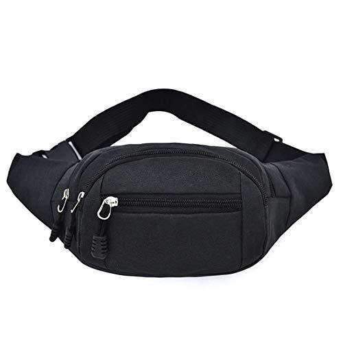 heavKin Men's Women's Fashion Simple Oxford Sport Fitness Solid Color Waist Pack - Travel Waist Bag Riding Backpack Messenger Shoulder Bag -Adjustable Belt (Black, 14X25X10CM)