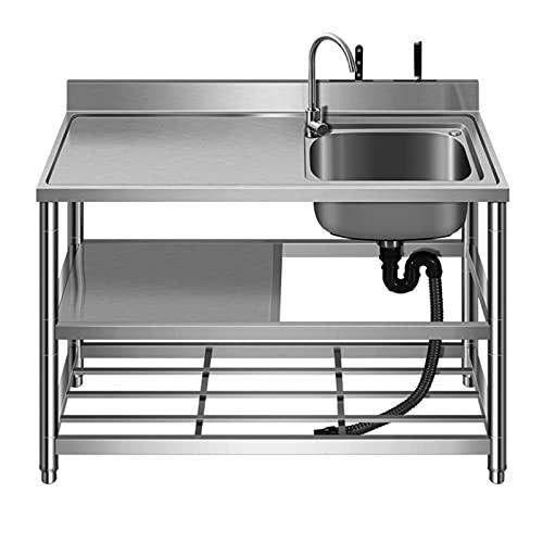 Fregadero de cocina de barra Fregadero de servicio independiente comercial Estación de preparación Fregadero Kit todo en uno Compartimento de acero inoxidable con estante de almacenamiento de 3 capa