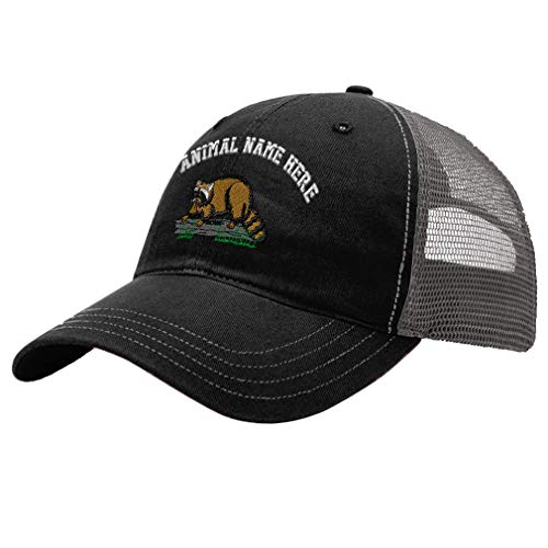 Custom Trucker Hat Richardson Raccoon B Embroidery Animal Name Cotton Soft Mesh Cap Snaps - Black/Charcoal  Personalized Text Here