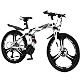 Fitfulvan 26 Inch Men's Mountain Bike Outroad Mountain Trail Bike High Carbon Steel Full Suspension Frame Folding Bicycles 21 Speed Gears Dual Disc Brakes Mountain Bicycle, Black