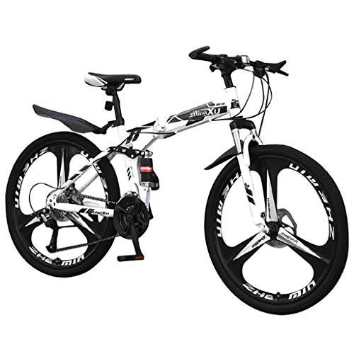 XSJJ 26 in Carbon Steel Mountainbike 21-Gang-Fahrrad mit Vollfederung MTB Jugend MäDchen Jungen Damen MTB Fahrrad Mountainbike Federgabel Jugendfahrrad Kinderfahrrad Bike(Weiß)