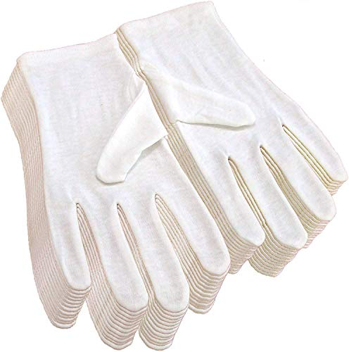 24Pcs White Cotton Gloves for Eczema and Dry Hands - Breathable Work Glove Liners - Moisturizing SPA Gloves - Soft Jewelry Inspection Gloves - Stretchy Fit Cotton Cloth Gloves for Most Women 12Pairs