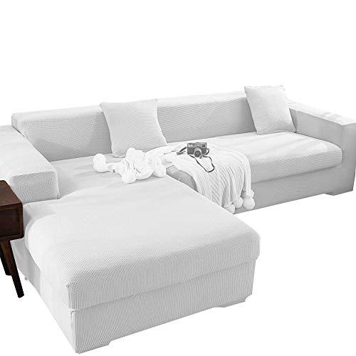 X-ZBS Funda de sofá Fundas de sofá elásticas en Forma de L Funda de sofá Universal (El sofá de Esquina en Forma de L Necesita Comprar Dos) (3 Plaza::185-235cm, Blanco)