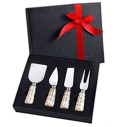 Linwnil Juego de 4 cuchillos de queso de mármol de acero inoxidable