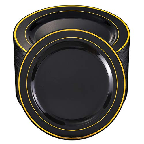 BUCLA100Pieces Black Plastic Plates with Gold Rim-10.25 inch Disposable Dinner Plates-Ideal for Weddings&Parties