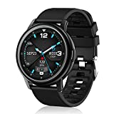 Smart Watch for iOS and Android Phones, Fitness Watch with Heart Rate Monitor, Full Touch Color Screen Pedometer Sleep Blood Pressure Blood Oxygen Tracker, IP68 Waterproof Activity Tracker (Black)