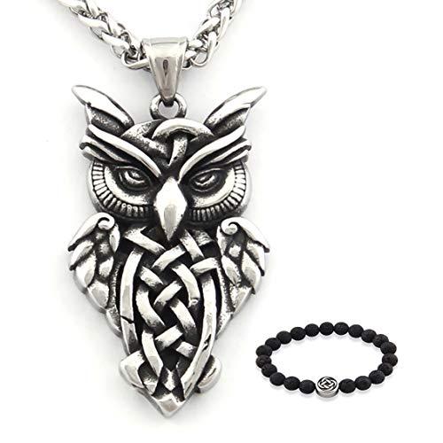 GUNGNEER Silvertone Celtic Knot Owl Pendant Necklace Stainless Steel Irish Trinity Infiniy Jewelry Accessories Men Women