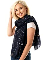 Evening Star Sparkle Scarves   for Women   Lightweight Shawl   Wedding Foil Print Scarf Wrap   Stars and Moons   Christmas Gift   50th Birthday   Black Friday   Prime
