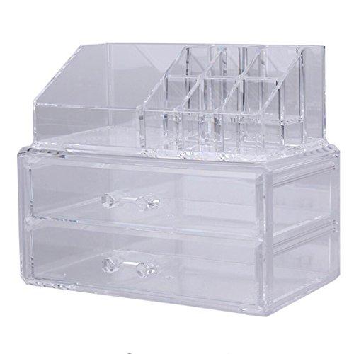 Tragbar Transparent Make-up-Organizer Aufbewahrungsbox, transparent Acryl Make-up Kosmetik Fall, zwei Schicht Schubladen Schreibtisch Badezimmer Make-up-Pinsel Lippenstift Halter, Desktop Lagerplatz